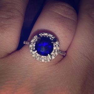 Blue Natural Sapphire & Double Diamond Halo Ring